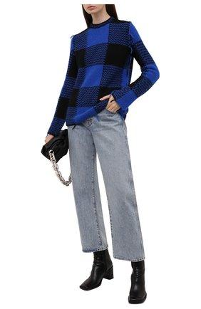 Женский свитер REDVALENTINO синего цвета, арт. WR0KC10R/66Q | Фото 2 (Длина (для топов): Стандартные; Рукава: Длинные; Материал внешний: Синтетический материал; Стили: Гламурный; Женское Кросс-КТ: Свитер-одежда)