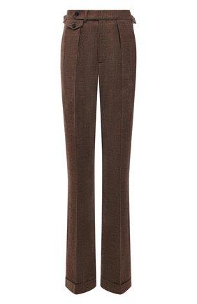 Женские шерстяные брюки RALPH LAUREN коричневого цвета, арт. 290858132 | Фото 1 (Длина (брюки, джинсы): Удлиненные; Материал внешний: Шерсть; Стили: Кэжуэл; Силуэт Ж (брюки и джинсы): Расклешенные)