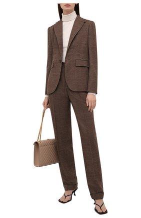 Женские шерстяные брюки RALPH LAUREN коричневого цвета, арт. 290858132 | Фото 2 (Длина (брюки, джинсы): Удлиненные; Материал внешний: Шерсть; Стили: Кэжуэл; Силуэт Ж (брюки и джинсы): Расклешенные)
