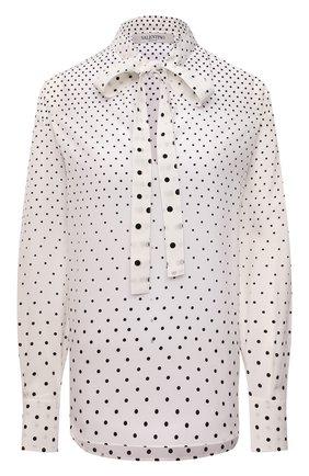 Женская шелковая блузка VALENTINO кремвого цвета, арт. WB0AE6F56PN   Фото 1 (Длина (для топов): Удлиненные; Рукава: Длинные; Материал внешний: Шелк; Стили: Романтичный; Женское Кросс-КТ: Блуза-одежда; Принт: С принтом)