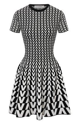 Женское платье из вискозы VALENTINO черно-белого цвета, арт. WB0KDB056RP   Фото 1 (Рукава: Короткие; Длина Ж (юбки, платья, шорты): Мини; Материал внешний: Вискоза; Стили: Гламурный; Случай: Повседневный; Кросс-КТ: Трикотаж; Женское Кросс-КТ: Платье-одежда)