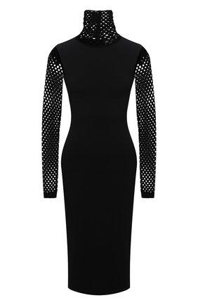 Женское платье VALENTINO черного цвета, арт. WB0KDB096S4   Фото 1 (Материал внешний: Вискоза; Рукава: Длинные; Длина Ж (юбки, платья, шорты): До колена; Стили: Гламурный; Случай: Формальный; Женское Кросс-КТ: Платье-одежда)