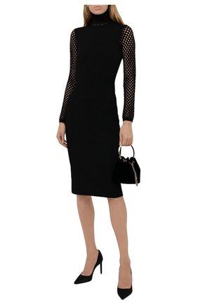 Женское платье VALENTINO черного цвета, арт. WB0KDB096S4   Фото 2 (Материал внешний: Вискоза; Рукава: Длинные; Длина Ж (юбки, платья, шорты): До колена; Стили: Гламурный; Случай: Формальный; Женское Кросс-КТ: Платье-одежда)