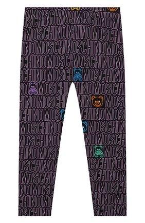 Детские хлопковые леггинсы MOSCHINO фиолетового цвета, арт. HDP047/LBB69/4A-8A | Фото 1 (Материал внешний: Хлопок; Девочки Кросс-КТ: Брюки-спорт; Ростовка одежда: 4 года | 104 см, 5 лет | 110 см, 6 лет | 116 см, 8 лет | 128 см)
