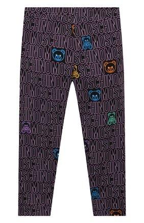 Детские хлопковые леггинсы MOSCHINO фиолетового цвета, арт. HDP047/LBB69/4A-8A | Фото 2 (Материал внешний: Хлопок; Девочки Кросс-КТ: Брюки-спорт; Ростовка одежда: 4 года | 104 см, 5 лет | 110 см, 6 лет | 116 см, 8 лет | 128 см)