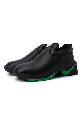 Мужские кожаные кроссовки flash BOTTEGA VENETA черного цвета, арт. 667069/VBSD0 | Фото 1 (Подошва: Массивная; Материал внутренний: Натуральная кожа, Текстиль; Стили: Гранж)