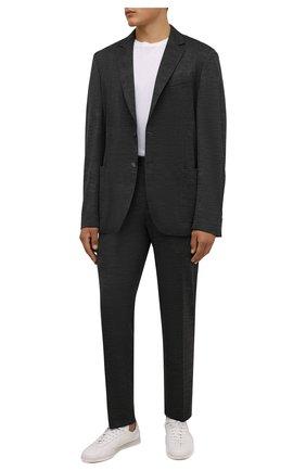 Мужские шерстяные брюки BOSS серого цвета, арт. 50458743 | Фото 2 (Длина (брюки, джинсы): Стандартные; Материал внешний: Шерсть; Случай: Повседневный; Стили: Кэжуэл)
