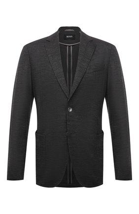 Мужской шерстяной пиджак BOSS серого цвета, арт. 50460225 | Фото 1 (Материал внешний: Шерсть; 1-2-бортные: Однобортные; Пиджаки М: Прямой; Рукава: Длинные; Длина (для топов): Стандартные; Случай: Повседневный; Стили: Кэжуэл)
