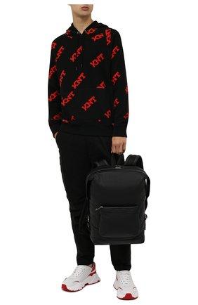 Мужской худи KNT черного цвета, арт. UMM0208 | Фото 2 (Материал внешний: Синтетический материал; Рукава: Длинные; Длина (для топов): Стандартные; Мужское Кросс-КТ: Худи-одежда; Принт: С принтом)
