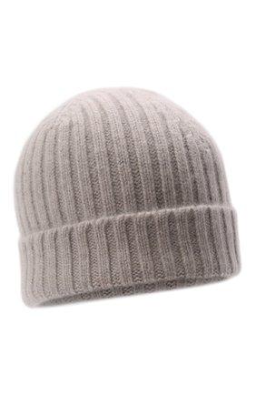 Мужская кашемировая шапка ALLUDE светло-серого цвета, арт. 215/60630 | Фото 1 (Материал: Шерсть, Кашемир; Кросс-КТ: Трикотаж)