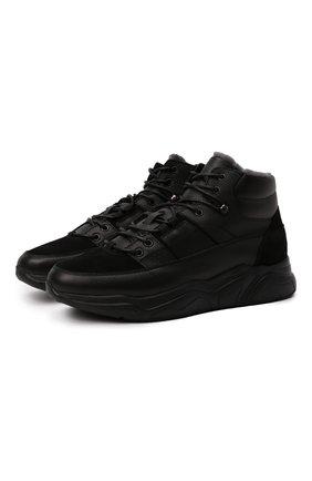 Мужские кожаные кроссовки DOUCAL'S черного цвета, арт. DU2902JUSTPM533NN00 | Фото 1 (Материал утеплителя: Натуральный мех; Подошва: Массивная; Стили: Классический)
