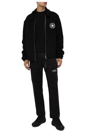 Мужские кожаные кеды KENZO черного цвета, арт. FB65SN441L52 | Фото 2 (Материал утеплителя: Натуральный мех; Подошва: Массивная)