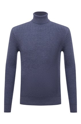 Мужской шерстяной свитер GRAN SASSO синего цвета, арт. 57157/14280 | Фото 1 (Длина (для топов): Стандартные; Материал внешний: Шерсть; Рукава: Длинные; Мужское Кросс-КТ: Свитер-одежда; Принт: Без принта)