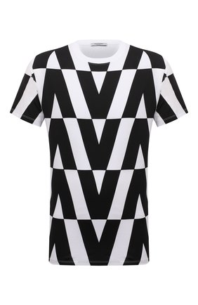 Мужская хлопковая футболка VALENTINO черно-белого цвета, арт. WV0MG10V7WV | Фото 1 (Материал внешний: Хлопок; Рукава: Короткие; Длина (для топов): Стандартные; Принт: С принтом; Стили: Кэжуэл)