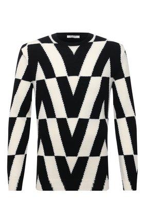 Мужской свитер из кашемира и шерсти VALENTINO черно-белого цвета, арт. WV0KC17H7TP | Фото 1 (Материал внешний: Кашемир, Шерсть; Мужское Кросс-КТ: Свитер-одежда; Принт: С принтом; Длина (для топов): Стандартные; Рукава: Длинные)