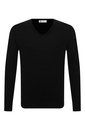 Мужской шерстяной пуловер IL BORGO CASHMERE черного цвета, арт. 54-1207G0 | Фото 1 (Рукава: Длинные; Длина (для топов): Стандартные; Материал внешний: Шерсть; Мужское Кросс-КТ: Пуловеры; Вырез: V-образный; Принт: Без принта; Стили: Кэжуэл)