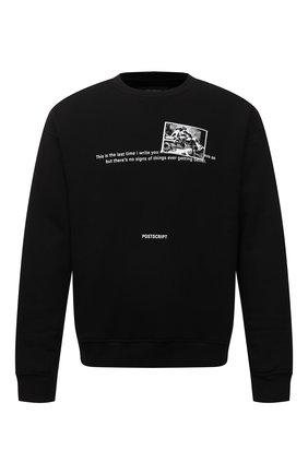 Мужской хлопковый свитшот TEE LIBRARY черного цвета, арт. TFK-SW-26 | Фото 1 (Длина (для топов): Стандартные; Материал внешний: Хлопок; Рукава: Длинные; Мужское Кросс-КТ: свитшот-одежда; Принт: С принтом; Стили: Гранж)
