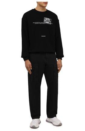 Мужской хлопковый свитшот TEE LIBRARY черного цвета, арт. TFK-SW-26 | Фото 2 (Длина (для топов): Стандартные; Материал внешний: Хлопок; Рукава: Длинные; Мужское Кросс-КТ: свитшот-одежда; Принт: С принтом; Стили: Гранж)