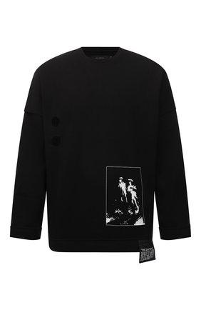 Мужской хлопковый свитшот TEE LIBRARY черного цвета, арт. TFK-LT-15 | Фото 1 (Рукава: Длинные; Материал внешний: Хлопок; Длина (для топов): Стандартные; Мужское Кросс-КТ: свитшот-одежда; Принт: С принтом; Стили: Гранж)