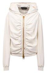 Женская кожаная куртка TOM FORD кремвого цвета, арт. CSL682-LEX228   Фото 1 (Материал подклада: Шелк; Кросс-КТ: Куртка; Стили: Гранж; Рукава: Длинные; Длина (верхняя одежда): Короткие; Женское Кросс-КТ: Замша и кожа)