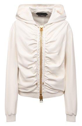 Женская кожаная куртка TOM FORD кремвого цвета, арт. CSL682-LEX228 | Фото 1 (Материал подклада: Шелк; Кросс-КТ: Куртка; Стили: Гранж; Рукава: Длинные; Длина (верхняя одежда): Короткие; Женское Кросс-КТ: Замша и кожа)