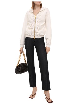 Женская кожаная куртка TOM FORD кремвого цвета, арт. CSL682-LEX228 | Фото 2 (Материал подклада: Шелк; Кросс-КТ: Куртка; Стили: Гранж; Рукава: Длинные; Длина (верхняя одежда): Короткие; Женское Кросс-КТ: Замша и кожа)