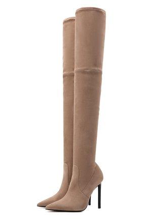 Женские замшевые ботфорты t screw TOM FORD бежевого цвета, арт. W2282T-LSP015 | Фото 1 (Материал внутренний: Текстиль, Натуральная кожа; Подошва: Плоская; Высота голенища: Высокие; Каблук высота: Высокий; Каблук тип: Шпилька; Материал внешний: Замша)