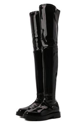 Женские ботфорты GIVENCHY черного цвета, арт. BE701SE133   Фото 1 (Подошва: Платформа; Материал внешний: Экокожа; Высота голенища: Высокие; Материал внутренний: Натуральная кожа; Каблук высота: Низкий; Каблук тип: Устойчивый)