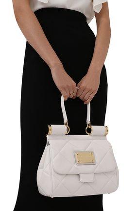 Женская сумка sicily medium DOLCE & GABBANA кремвого цвета, арт. BB7018/AW591   Фото 2 (Материал: Натуральная кожа; Сумки-технические: Сумки top-handle, Сумки через плечо; Ремень/цепочка: На ремешке; Размер: medium)