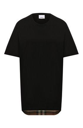 Женская хлопковая футболка BURBERRY черного цвета, арт. 8044962   Фото 1 (Рукава: Короткие; Длина (для топов): Удлиненные; Материал внешний: Хлопок; Женское Кросс-КТ: Футболка-одежда; Принт: Без принта; Стили: Кэжуэл)