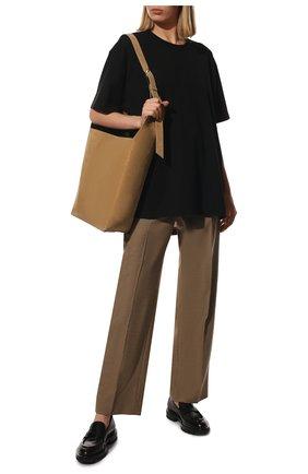 Женская хлопковая футболка BURBERRY черного цвета, арт. 8044962   Фото 2 (Рукава: Короткие; Длина (для топов): Удлиненные; Материал внешний: Хлопок; Женское Кросс-КТ: Футболка-одежда; Принт: Без принта; Стили: Кэжуэл)