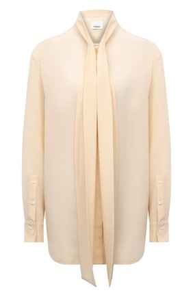 Женская шелковая блузка BURBERRY светло-бежевого цвета, арт. 8044833 | Фото 1 (Рукава: Длинные; Материал внешний: Шелк; Длина (для топов): Удлиненные; Женское Кросс-КТ: Блуза-одежда; Принт: Без принта; Стили: Кэжуэл)
