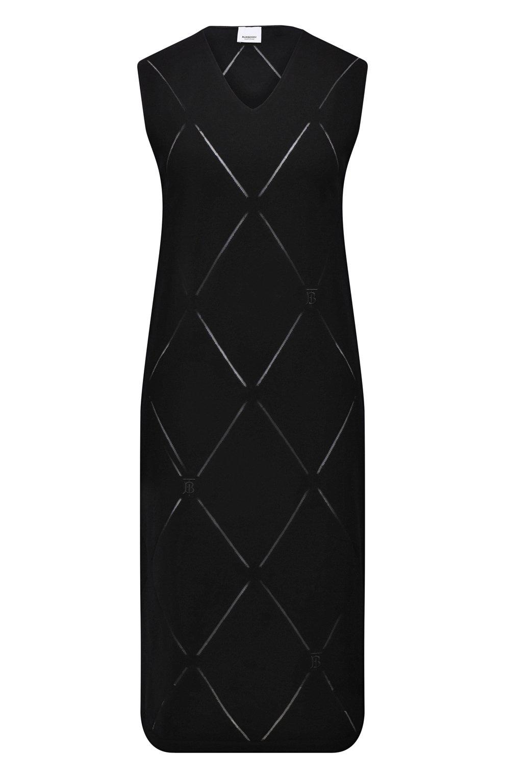 Женское шерстяное платье BURBERRY черного цвета, арт. 8044759   Фото 1 (Материал внешний: Шерсть; Случай: Повседневный; Кросс-КТ: Трикотаж; Длина Ж (юбки, платья, шорты): До колена; Женское Кросс-КТ: Платье-одежда; Стили: Кэжуэл)