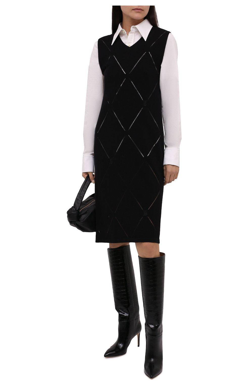 Женское шерстяное платье BURBERRY черного цвета, арт. 8044759   Фото 2 (Материал внешний: Шерсть; Случай: Повседневный; Кросс-КТ: Трикотаж; Длина Ж (юбки, платья, шорты): До колена; Женское Кросс-КТ: Платье-одежда; Стили: Кэжуэл)