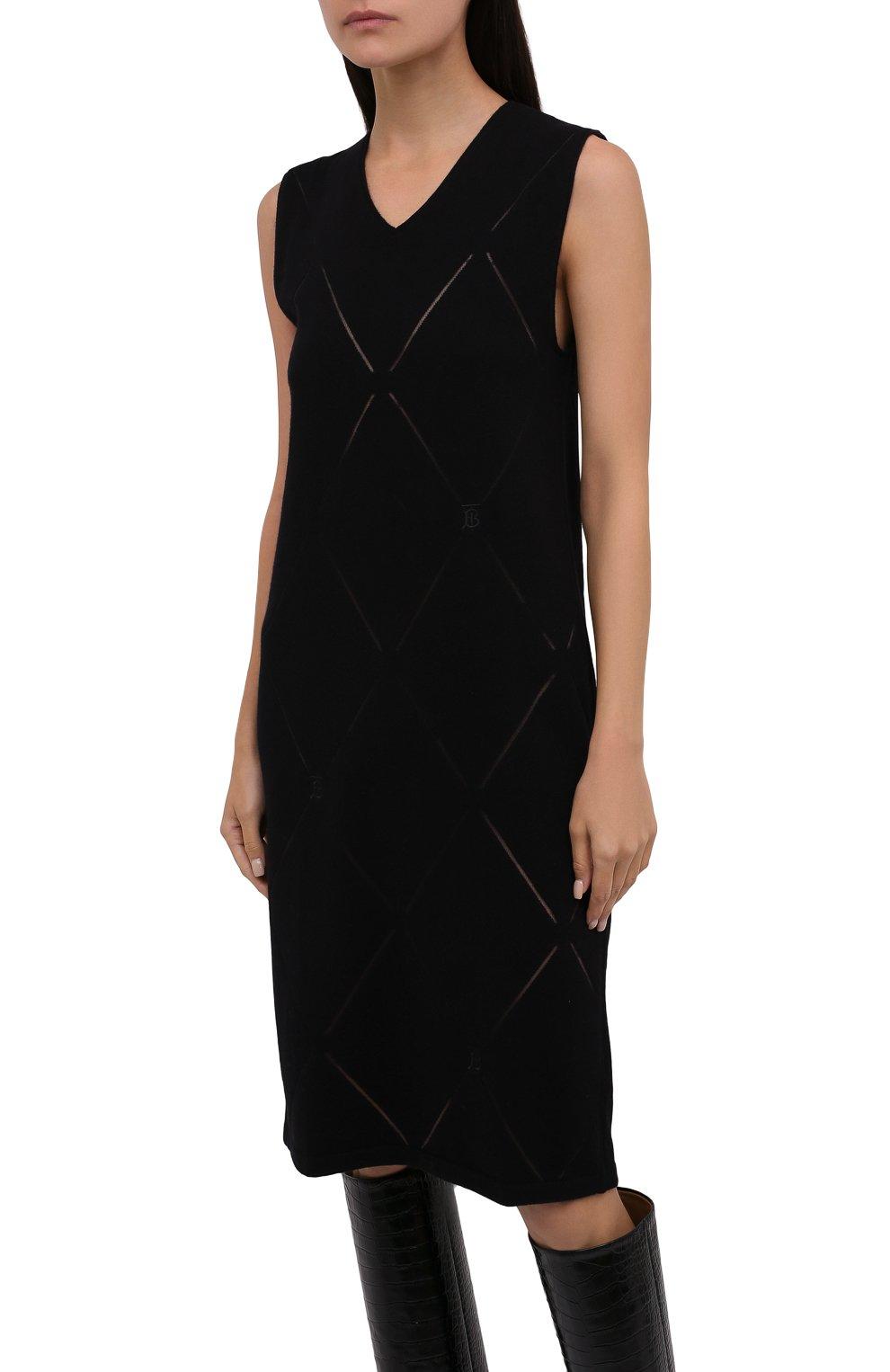 Женское шерстяное платье BURBERRY черного цвета, арт. 8044759   Фото 3 (Материал внешний: Шерсть; Случай: Повседневный; Кросс-КТ: Трикотаж; Длина Ж (юбки, платья, шорты): До колена; Женское Кросс-КТ: Платье-одежда; Стили: Кэжуэл)
