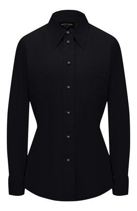 Женская хлопковая рубашка GIORGIO ARMANI темно-синего цвета, арт. 1WHCCZ08/TZ930 | Фото 1 (Материал внешний: Хлопок; Женское Кросс-КТ: Рубашка-одежда; Принт: Без принта; Стили: Кэжуэл; Рукава: Длинные; Длина (для топов): Стандартные, Укороченные)