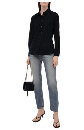 Женская хлопковая рубашка GIORGIO ARMANI темно-синего цвета, арт. 1WHCCZ08/TZ930 | Фото 2 (Материал внешний: Хлопок; Женское Кросс-КТ: Рубашка-одежда; Принт: Без принта; Стили: Кэжуэл; Рукава: Длинные; Длина (для топов): Стандартные, Укороченные)