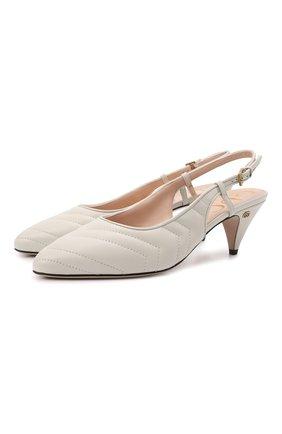 Женские кожаные туфли marmont GUCCI кремвого цвета, арт. 659471/BK000 | Фото 1 (Подошва: Плоская; Каблук высота: Средний; Материал внутренний: Натуральная кожа; Каблук тип: Устойчивый)