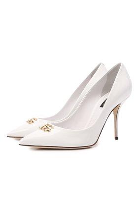 Женские кожаные туфли cardinale DOLCE & GABBANA белого цвета, арт. CD1648/A1471   Фото 1 (Материал внутренний: Натуральная кожа; Каблук тип: Шпилька; Подошва: Плоская; Каблук высота: Высокий)