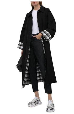 Женские кожаные кроссовки day master DOLCE & GABBANA черно-белого цвета, арт. CK1791/A0773 | Фото 2 (Подошва: Платформа; Материал внутренний: Натуральная кожа)