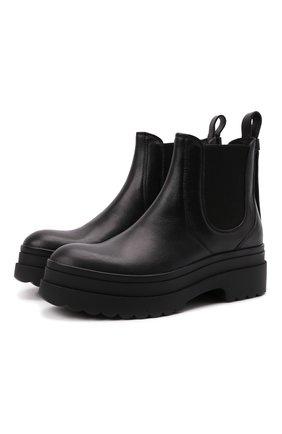 Женские кожаные ботинки REDVALENTINO черного цвета, арт. WQ0S0E38/ADW   Фото 1 (Каблук высота: Средний; Подошва: Платформа; Материал внутренний: Натуральная кожа; Женское Кросс-КТ: Челси-ботинки)