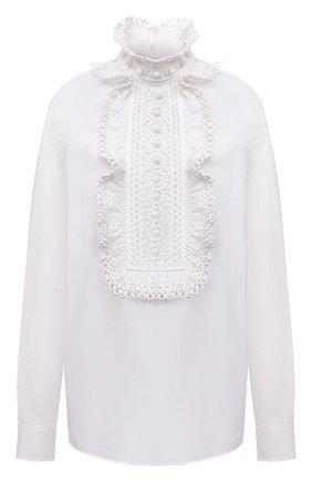 Женская хлопковая блузка VALENTINO белого цвета, арт. WB0AE6G05A6 | Фото 1 (Материал внешний: Хлопок; Длина (для топов): Стандартные; Рукава: Длинные; Женское Кросс-КТ: Блуза-одежда; Принт: Без принта; Стили: Бохо)