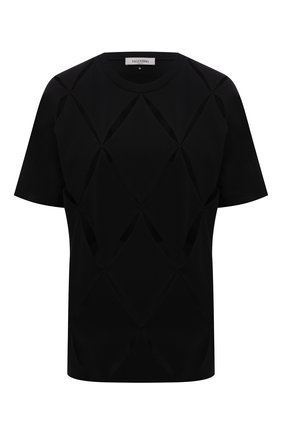 Женская хлопковая футболка VALENTINO черного цвета, арт. WB0MG15J6QN   Фото 1 (Материал внешний: Хлопок; Рукава: Короткие; Материал подклада: Хлопок; Длина (для топов): Стандартные; Женское Кросс-КТ: Футболка-одежда; Принт: Без принта; Стили: Кэжуэл)
