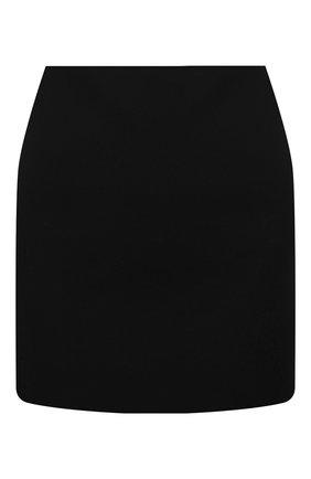 Женская шерстяная юбка VALENTINO черного цвета, арт. WB0RA8506LR | Фото 1 (Материал внешний: Шерсть; Длина Ж (юбки, платья, шорты): Мини; Женское Кросс-КТ: Юбка-одежда; Материал подклада: Вискоза; Стили: Кэжуэл)