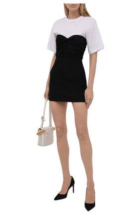 Женская шерстяная юбка VALENTINO черного цвета, арт. WB0RA8506LR | Фото 2 (Материал внешний: Шерсть; Длина Ж (юбки, платья, шорты): Мини; Женское Кросс-КТ: Юбка-одежда; Материал подклада: Вискоза; Стили: Кэжуэл)