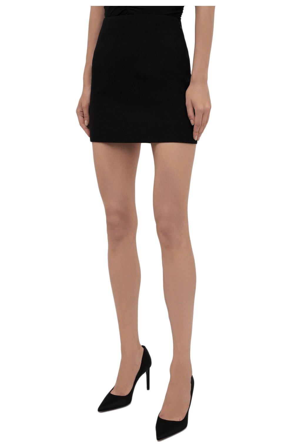 Женская шерстяная юбка VALENTINO черного цвета, арт. WB0RA8506LR | Фото 3 (Материал внешний: Шерсть; Длина Ж (юбки, платья, шорты): Мини; Женское Кросс-КТ: Юбка-одежда; Материал подклада: Вискоза; Стили: Кэжуэл)