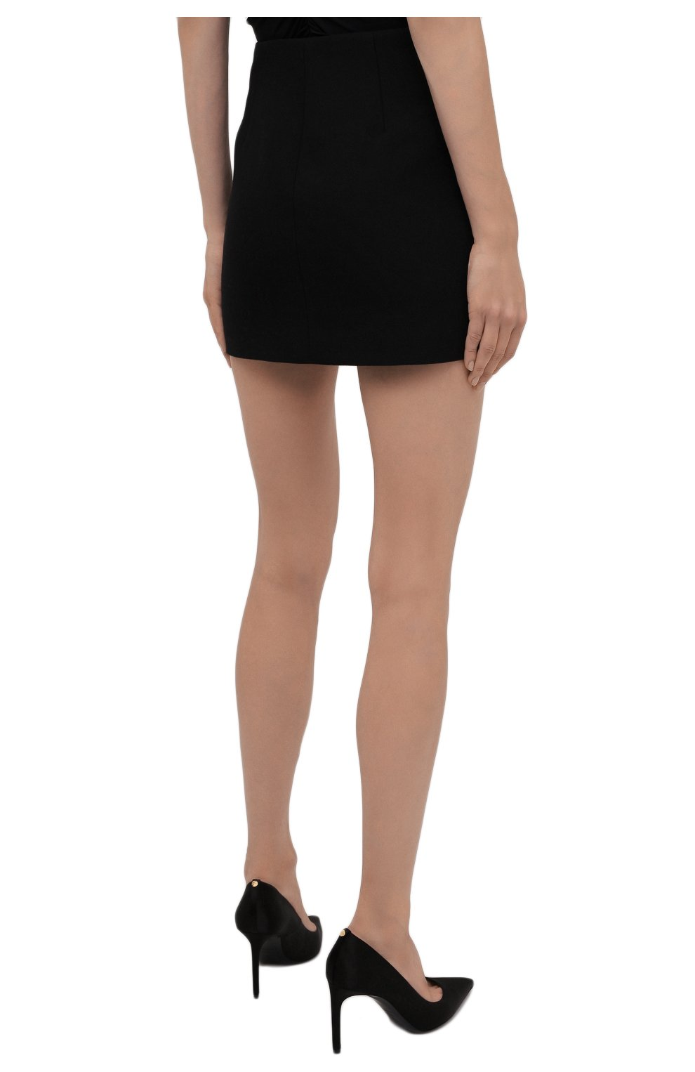 Женская шерстяная юбка VALENTINO черного цвета, арт. WB0RA8506LR | Фото 4 (Материал внешний: Шерсть; Длина Ж (юбки, платья, шорты): Мини; Женское Кросс-КТ: Юбка-одежда; Материал подклада: Вискоза; Стили: Кэжуэл)