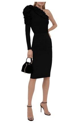 Женская юбка из шерсти и шелка VALENTINO черного цвета, арт. WB0RA8B06BS   Фото 2 (Материал подклада: Вискоза; Длина Ж (юбки, платья, шорты): До колена; Материал внешний: Шерсть; Женское Кросс-КТ: Юбка-одежда; Стили: Кэжуэл)