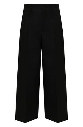Женские шерстяные брюки VALENTINO черного цвета, арт. WB0RB4J56LR   Фото 1 (Длина (брюки, джинсы): Стандартные, Укороченные; Материал внешний: Шерсть; Женское Кросс-КТ: Брюки-одежда; Стили: Кэжуэл; Силуэт Ж (брюки и джинсы): Широкие)