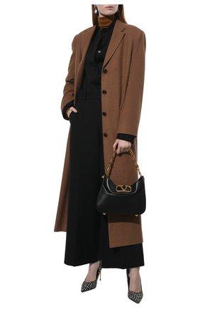 Женские шерстяные брюки VALENTINO черного цвета, арт. WB0RB4J56LR   Фото 2 (Длина (брюки, джинсы): Стандартные, Укороченные; Материал внешний: Шерсть; Женское Кросс-КТ: Брюки-одежда; Стили: Кэжуэл; Силуэт Ж (брюки и джинсы): Широкие)